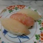 市場のすしやさん - 食べ比べセット380円(税込410円)(真鯛、ひらめ、きんめ)