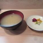 割烹 和知 - 蜆の味噌汁・香の物