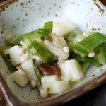 割烹 芝苑 - 長芋とネギやエノキとの和え物