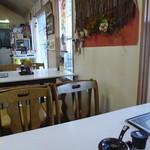 友福丸 - カウンター席4卓、外にも風を仕切ったテーブル席が4卓ほどあり