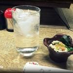 宇部銘酒センター - 料理写真:2016.1 白波水割り(400円)とお通し(320円)