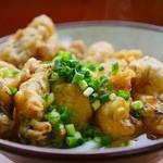 味庄 - かけうどん小 牡蠣天ぷら串