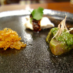 中華旬彩 森本 - 旬の味覚入り前菜三種盛り合わせ