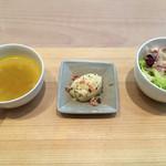 47166386 - セットのスープやサラダ類