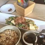 土の実 - 島美人御膳ランチ☆1980円\(^o^)/ ゴーヤチャンプルに沖縄ソバ、さらにサラダ・前菜2種・デザートが付いたお得なセットです♪