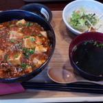 47167874 - マーボー豆腐丼定食(\700) ※ごめんなさい、サラダ半分以上食べてから撮影w