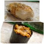 節魚 すし宗 - ◆穴子・・フワフワです。 ◆紫雲丹・・この時期は北海道からいい品が入らないと話されていましたが、十分美味しい。
