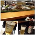 節魚 すし宗 - 最近はネタケースを見れない鮨店が増えましたが、 ネタを見るだけで愉しいのでこういう風に見せるお店はいいですね。 ◆主人はノンアルコールビール、私は梅酒のソーダ割りを。
