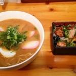 まるまつラーメン - Eの2定食:4新味(黒味噌)+せせり重ミニ:500円+180円
