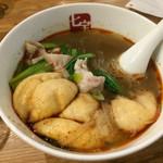 七宝 麻辣湯 - 辛さ2、フー玉、豚バラ肉、青梗菜