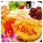 ハイビス カフェ - 石垣牛と自家製ベーコンのボリュームたっぷりパンケーキ☆¥950