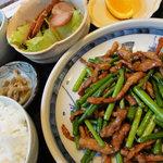 4721019 - ニンニクの芽と豚肉炒め定食