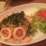 yummy - イカと明太子のパスタ サラダ 枝豆のポタージュ ポテトサラダ ビールで、1500円!  安〜い(≧∇≦)