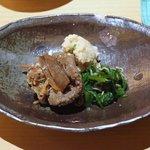 蕎麦 流石 - 牛肉のしぐれ、海老入りおから、菜の花