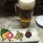 田や - 生ビール中とお通し