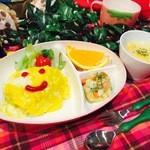 ワサビカフェ - お子様オムタコライスとポテサラ・スープ・フルーツのセット