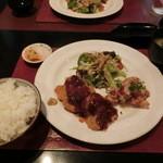 ゆめの庵 - ヒレカツと鶏ももの竜田揚げ定食
