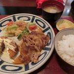 ゆめの庵 - Bランチ 豚ロースソテーとコロッケ定食
