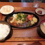 shunsaikafekanade - 夜ごはん ハンバーグしょうがだれ定食 830円
