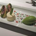 47237759 - デュオ フルシェット ひなまつりデザート~甘酒のブランマンジェ、菱形のコンフィズリー 竹笹に見立てたケーキ、抹茶のアイス~