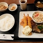 Cafe Place Mu - 2016.1.24 ハンバーグ&エビフライ定食