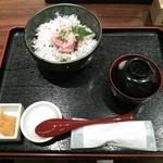 和食屋 - ねぎとろしらす丼(お新香・味噌汁付)