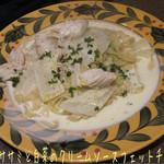 47252343 - ランチがあったので、鶏ササミと白菜のクリームソースフェットチーネ(1000円)♪                       フェットチーネはモチモチの麺にコクのあるソースが美味しい(^^♪