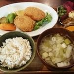 47270660 - お野菜定食   人参と長葱のベジコロッケ   1080円