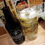 串かつ でんがな - ホッピーセット(白)¥381円、中¥191円