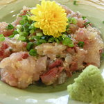 海鮮料理 竹ノ内 - 新鮮ななめろう。キラキラ光ってます。
