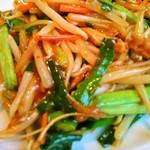 麺菜家尾いけ - 細切り豚肉と玉葱の甘辛炒め(アップ)