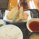 天ぷら 筧 - 上天ぷら定食(穴子、海老2、魚1、野菜2:オクラ・エリンギ)