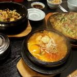 多来 - ナムル石焼、納豆のチゲ、パジョン