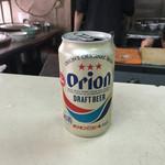 台湾風粥専門店 阿里 - もちろん朝からオリオンビール(持ち込み品)