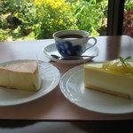 カフェキタガワ - 料理写真:オリジナルブレンドコーヒー・トロピカルフロマージュ・スフレチーズケーキ