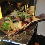 三喰撰酒 三重人 - 豚の柚子味噌朴葉焼き