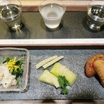 ELLAS - 青菜のおしたしカニ身添え・メロン甘酢しょうが巻・手羽と大根の炊き合わせ