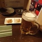 あうん屋 - 【2016年2月】生ビール(490円)&お通し代(席料)(350円)