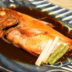 食べるお宿 浜の湯 - 名物、金目鯛の煮つけ