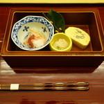 一灯 - 料理写真:2016.02 前菜:紅白なます、タコ、八名丸里芋アミ海老煮  黒豆とレンコンの卵焼き
