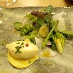 47396861 - ・前菜~サラダ、フォアグラのムース、安納芋のピューレ