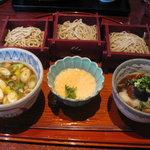 くろ麦 - 三味そば1,200円(鴨・揚げ茄子・とろろ)
