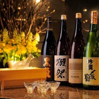 季節の日本酒、地酒、銘酒各種揃えております。