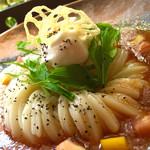 かま釜うどん - トマトすりおろし豆乳ホイップ添え