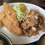 ダンセン - 二品盛り合せ定食(白身魚フライ・豚バラ焼き)