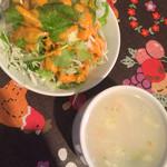 47436690 - ランチセットのスープとサラダ