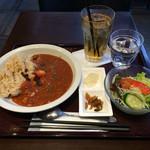 里山カフェ - トマトカレー御膳+ジャスミンティ