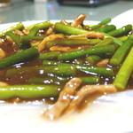 菜香 - 板春雨とニンニクの芽の黒酢炒め