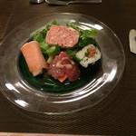 松原亭 - フォアグラの巻寿司、生ハム