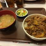 47461957 - 牛丼豚汁お新香セット